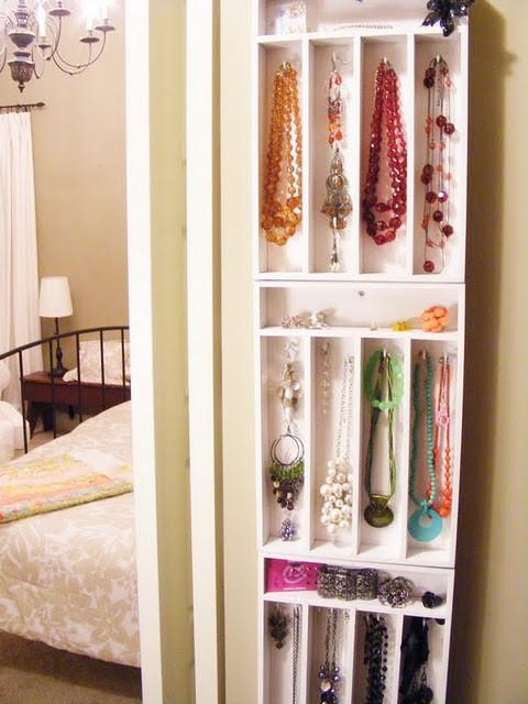 Хранение украшений, идеи, вертикальные ящики