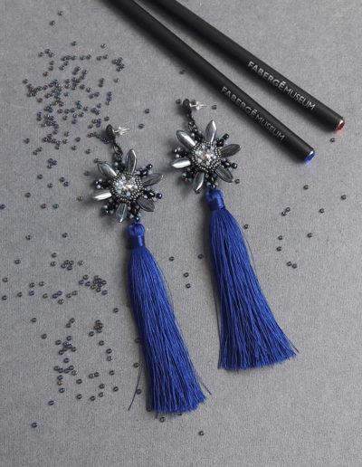 Серьги-кисточки - серебро, синие кисточки