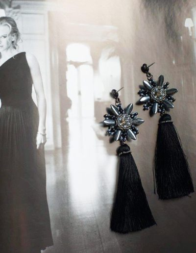 Николь Кидман - Серьги-кисточки Black Stars (Sense of Color)