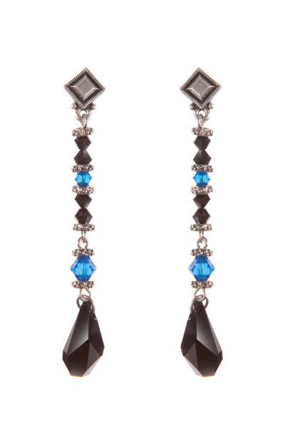 Серьги Swarovski Drops (Capri Blue/Black)
