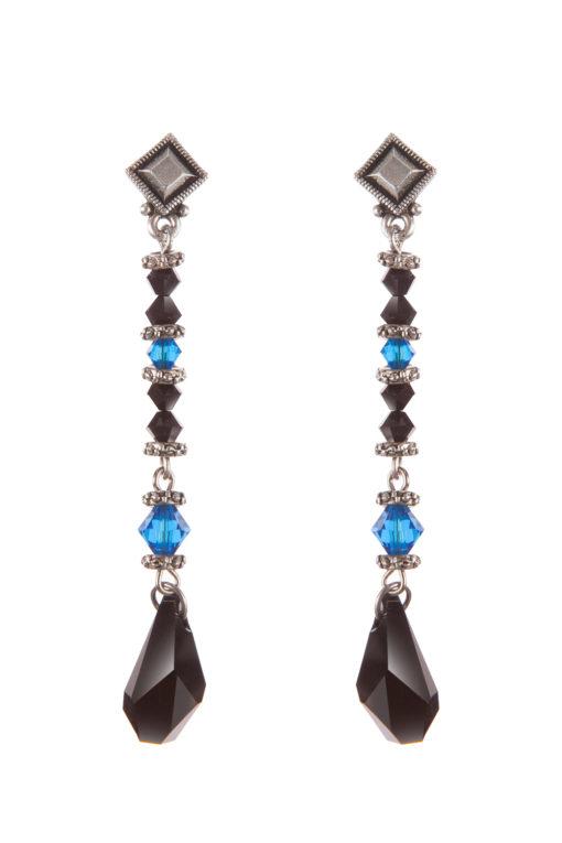 Серьги Swarovski Drops (Capri Blue/Black)