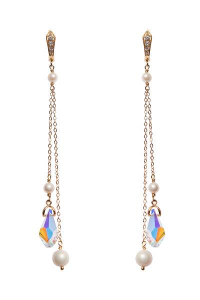 длинные серьги с жемчугом кристаллами сваровски купить интернет магазин бижутерии