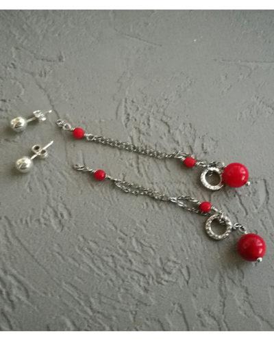 Серьги с красным кораллом серебро Red Berries