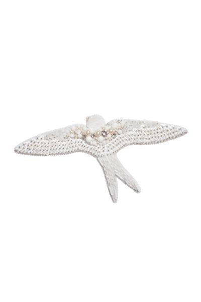 Брошь с кристаллами Сваровски White Bird